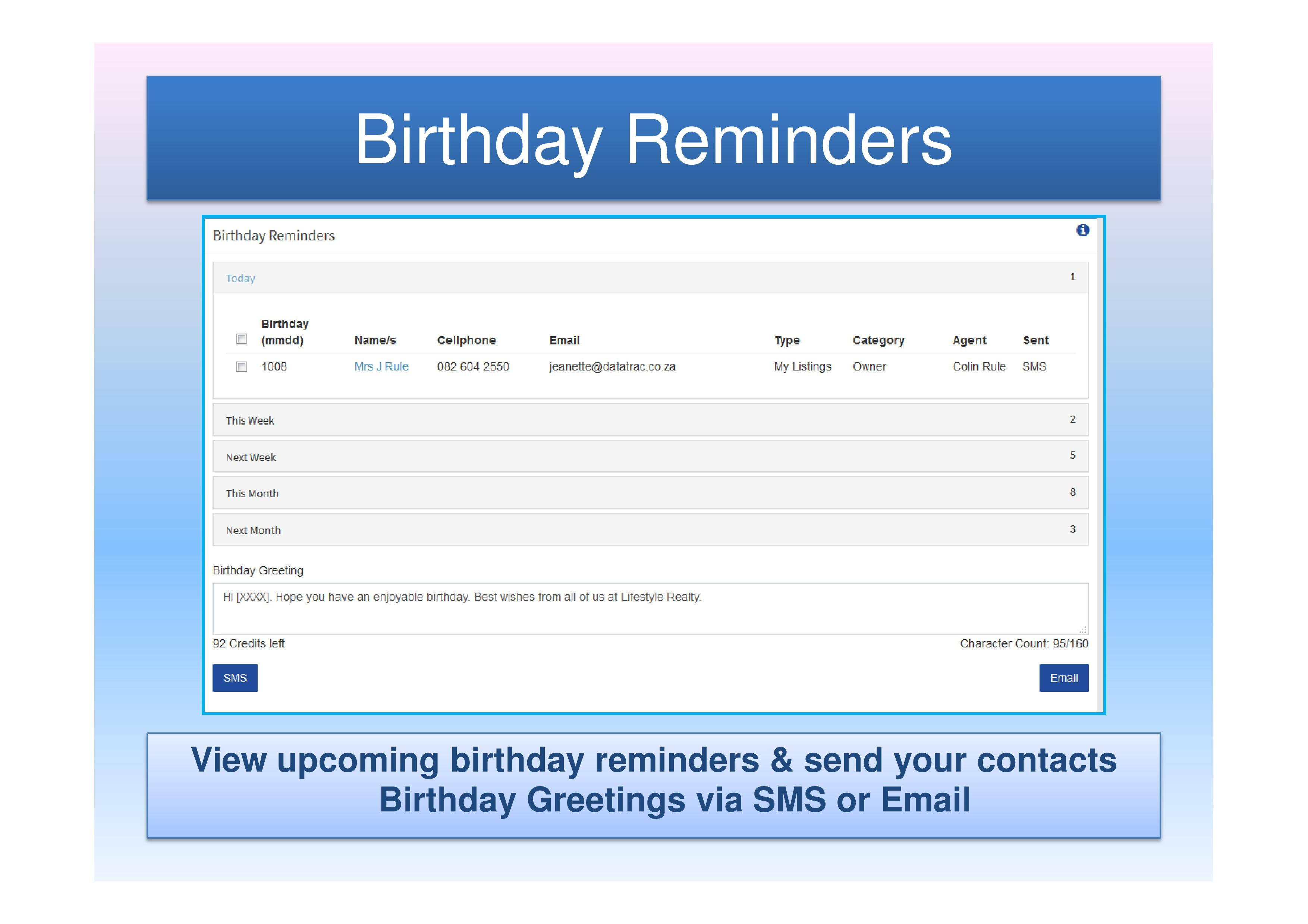 Birthday Reminders and Greetings