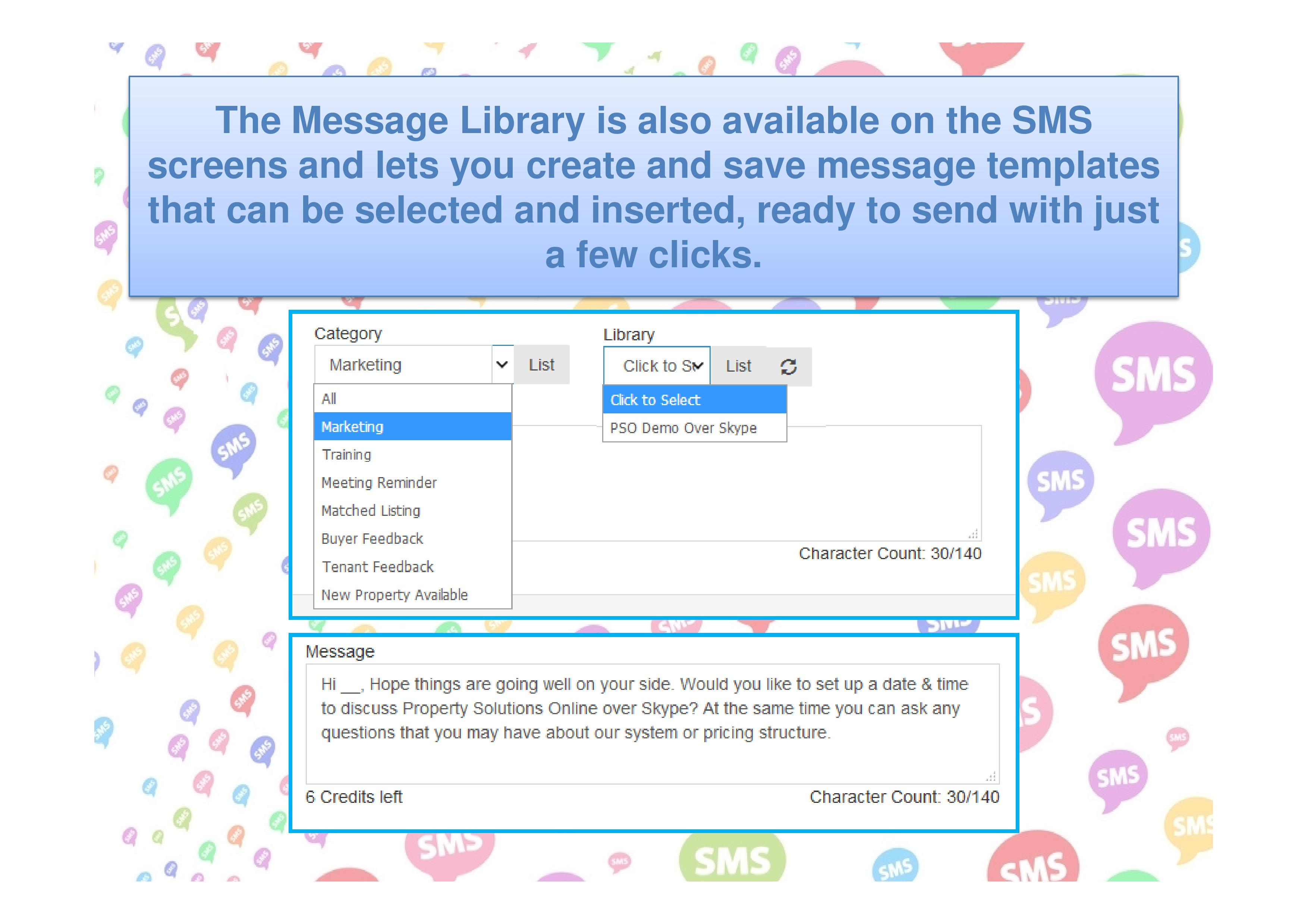 The Message Library lets you create and save message templates.