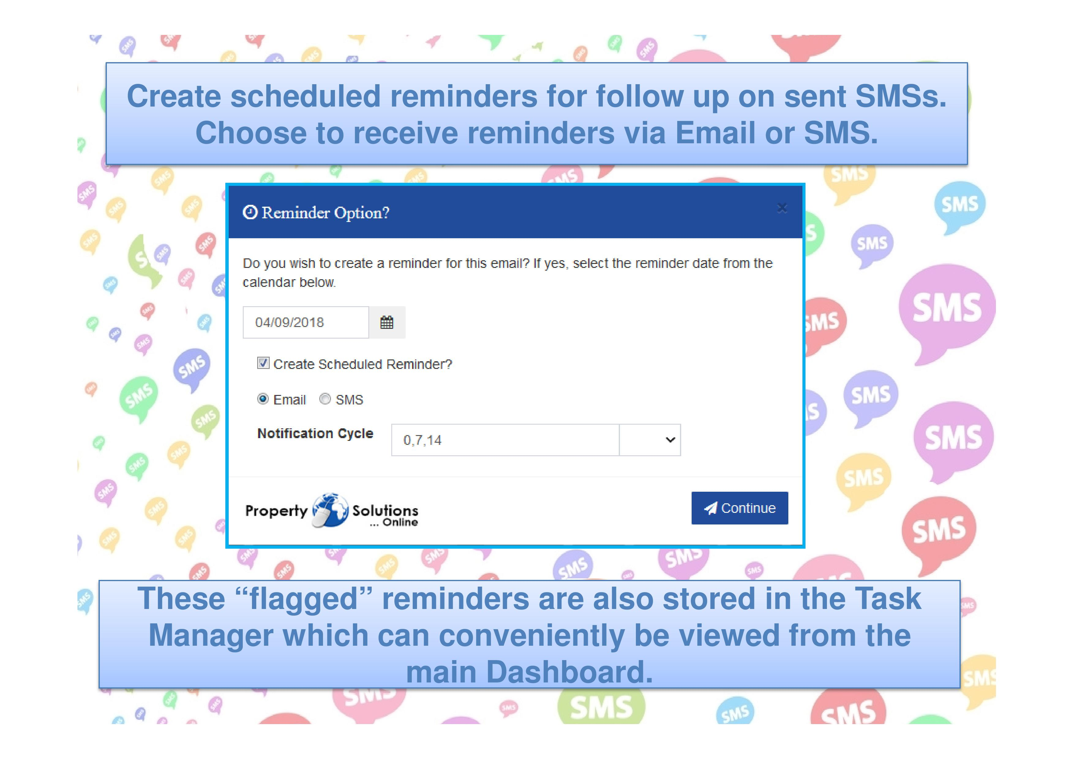 View SMS entries under the SMS History tab